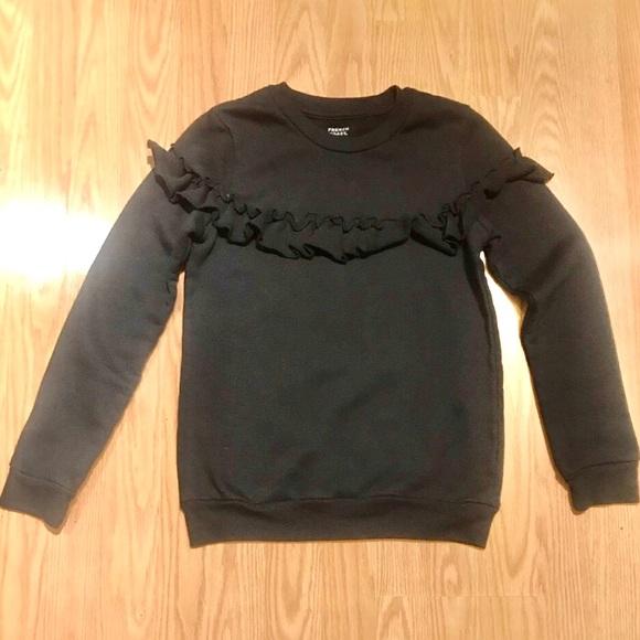 French Toast Girls Long Sleeve Ruffle Front Sweatshirt